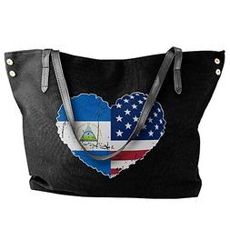 Women's Nicaragua USA Flag Heart Canvas Shoulder Bag Handbag