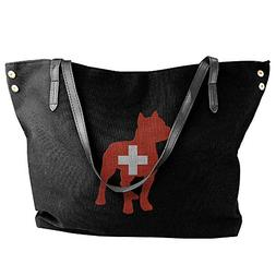 Women's Patriotic Pitbull Switzerland Flag Canvas Shoulder B
