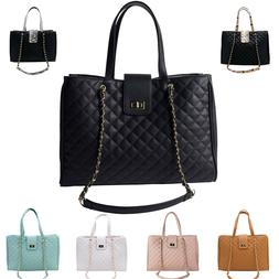 15.6 in Laptop Tote Handbag Satchel Quilted Bag Womens CC Ma