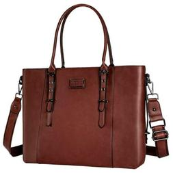 MOSISO Womens Fashionable PU Leather Laptop Tote Bag 17.3 in