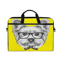 ALAZA Yorkshire Terrier Dog with Glasses and Bow Tie 15 inch